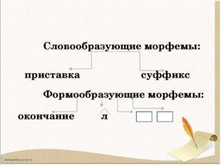 Словообразующие морфемы: Формообразующие морфемы: ть ти приставка суффикс ок