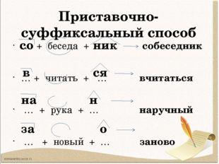 Приставочно-суффиксальный способ … + беседа + … собеседник … + читать + … вчи