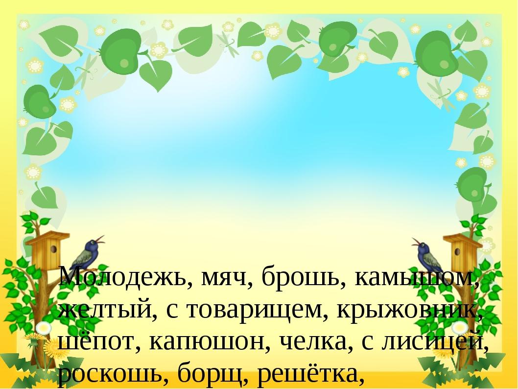 Молодежь, мяч, брошь, камышом, желтый, с товарищем, крыжовник, шёпот, капюшо...