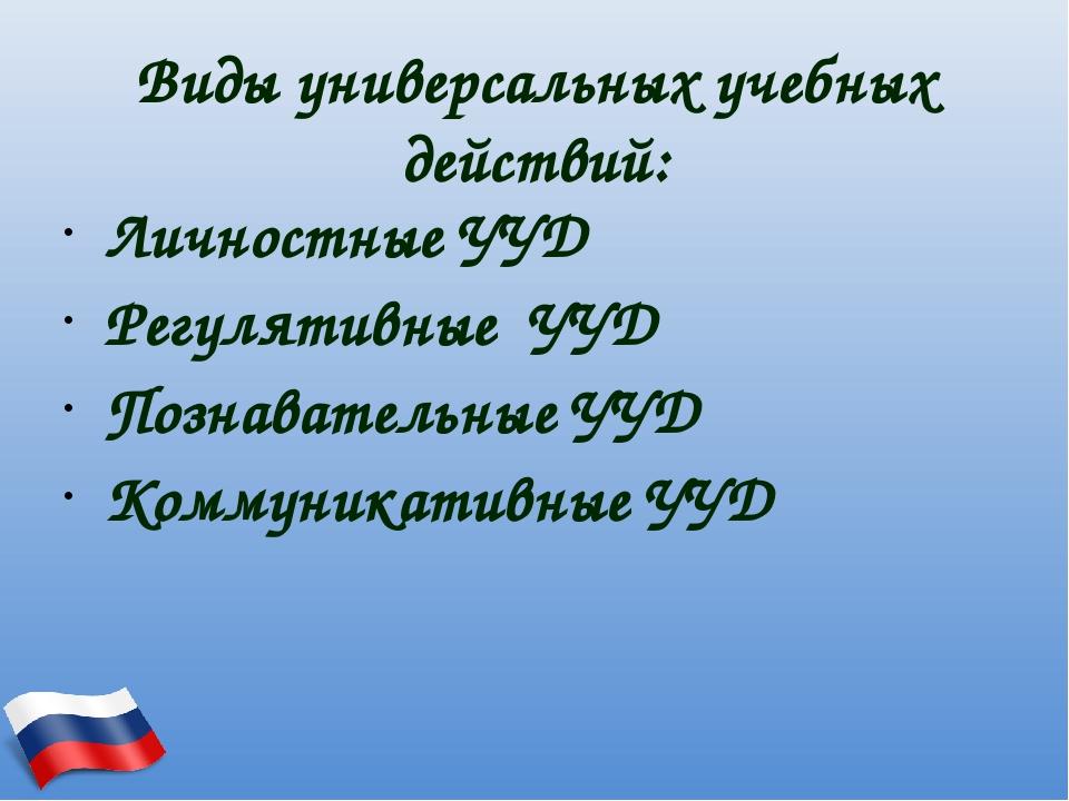 Виды универсальных учебных действий: Личностные УУД Регулятивные УУД Познават...