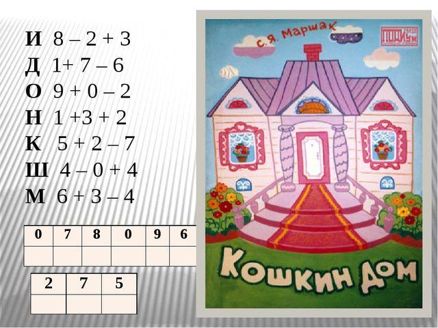 И 8 – 2 + 3 Д 1+ 7 – 6 О 9 + 0 – 2 Н 1 +3 + 2 К 5 + 2 – 7 Ш 4 – 0 + 4 М 6 + 3...