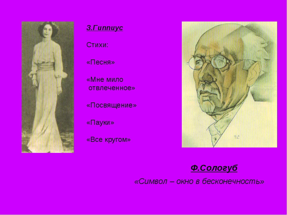 Ф.Сологуб «Символ – окно в бесконечность» З.Гиппиус Стихи: «Песня» «Мне мило...