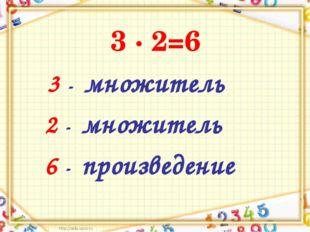 3 ∙ 2=6 3 - множитель 2 - множитель 6 - произведение