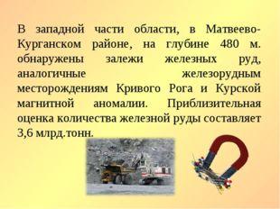 В западной части области, в Матвеево-Курганском районе, на глубине 480 м. обн