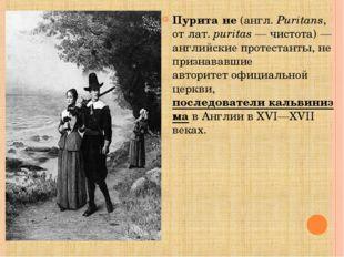 Пурита́не(англ.Puritans, отлат.puritas— чистота)— английскиепротестант