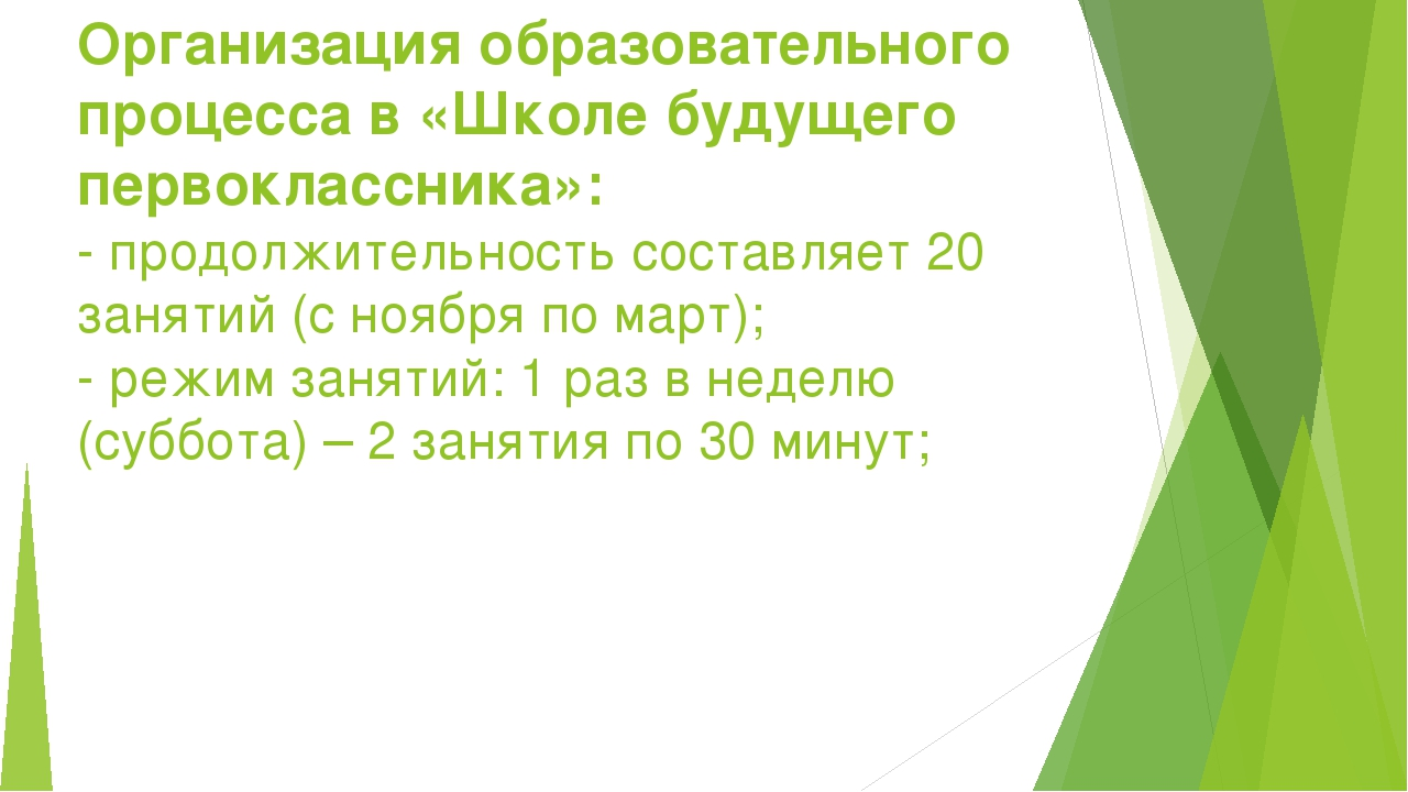Организация образовательного процесса в «Школе будущего первоклассника»: - пр...