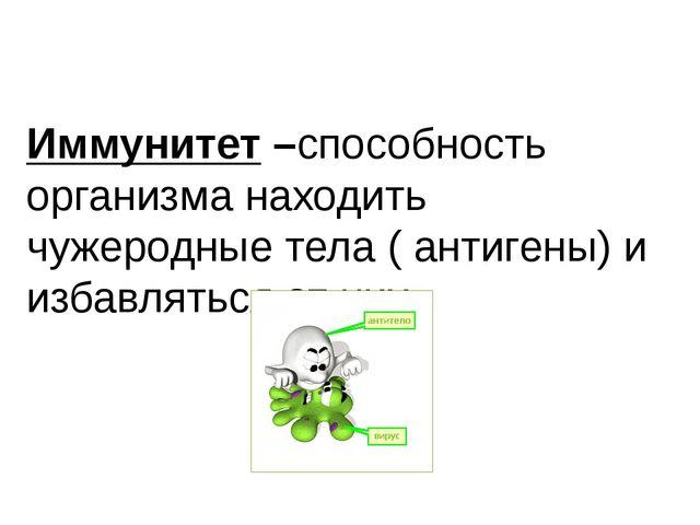 Иммунитет –способность организма находить чужеродные тела ( антигены) и избав...