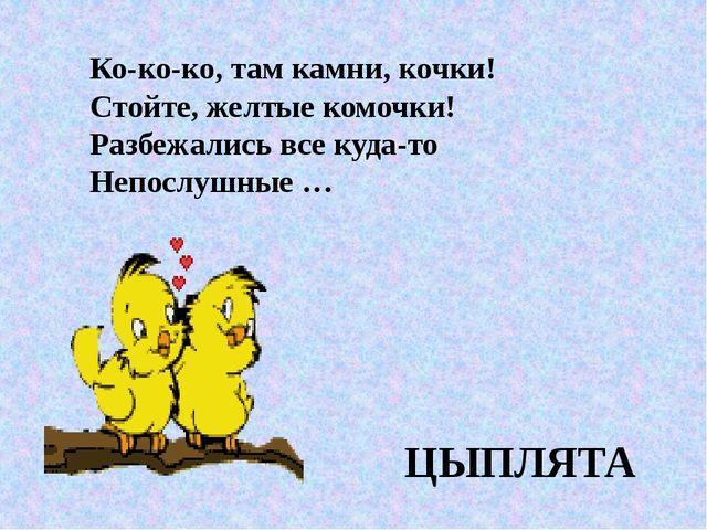Ко-ко-ко, там камни, кочки! Стойте, желтые комочки! Разбежались все куда-то Н...