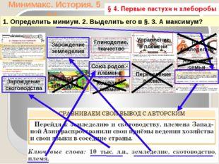 Минимакс. История. 5 кл. 1. Определить миниум. 2. Выделить его в §. 3. А макс