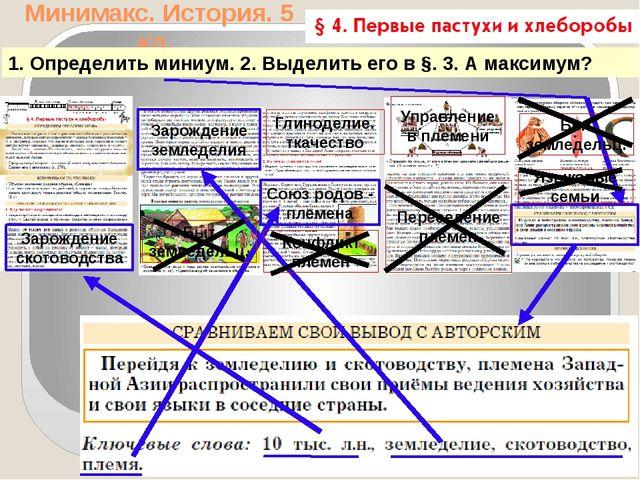 Минимакс. История. 5 кл. 1. Определить миниум. 2. Выделить его в §. 3. А макс...