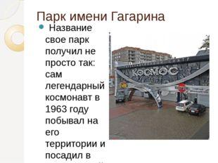 Парк имени Гагарина Название свое парк получил не просто так: сам легендарны
