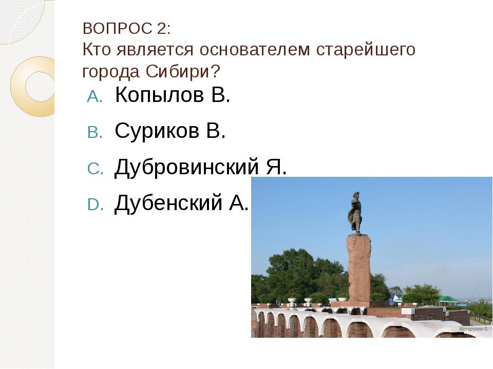 ВОПРОС 2: Кто является основателем старейшего города Сибири? Копылов В. Сурик...