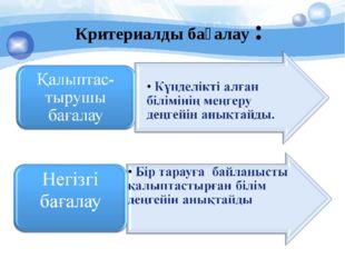 Критериалды бағалау :