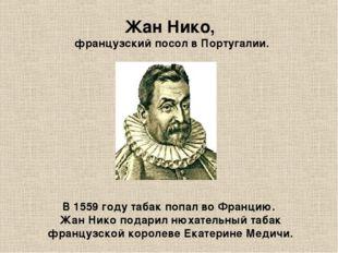 Жан Нико, французский посол в Португалии. В 1559 году табак попал во Францию.