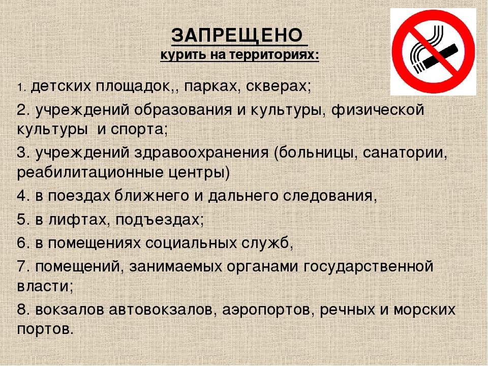 ЗАПРЕЩЕНО курить на территориях: 1. детских площадок,, парках, скверах; 2. уч...