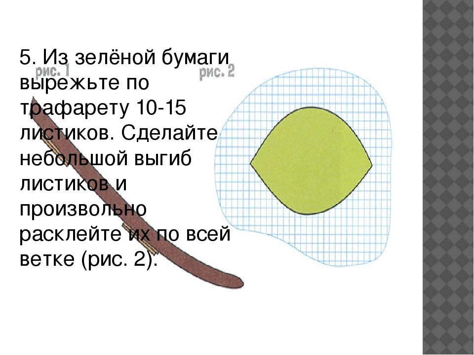 5. Из зелёной бумаги вырежьте по трафарету 10-15 листиков. Сделайте небольшой...