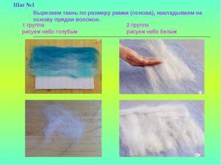 Вырезаем ткань по размеру рамки (основа), накладываем на основу прядки волоко