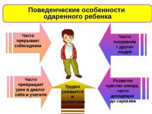 Поведенческие особенности одаренного ребенка Часто прерывает собеседника Час