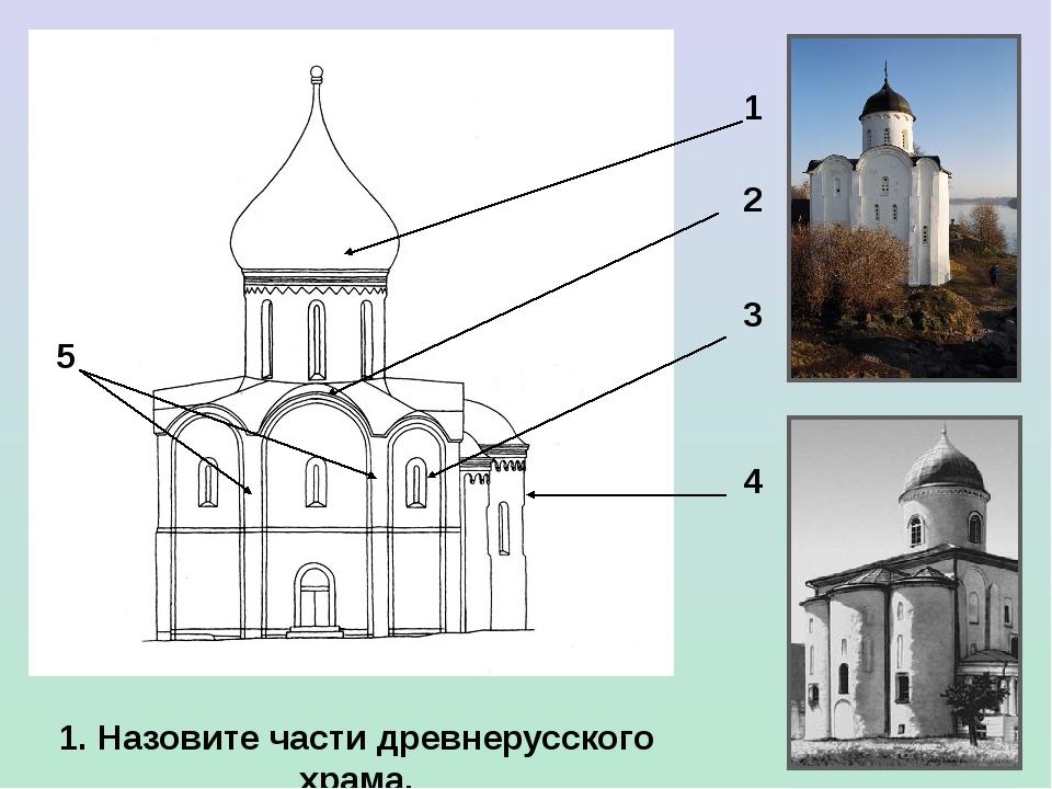 1 2 3 4 5 1. Назовите части древнерусского храма.