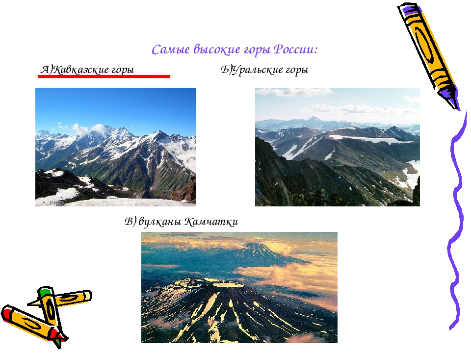Самые высокие горы России: А)Кавказские горы Б)Уральские горы В) вулканы Кам...