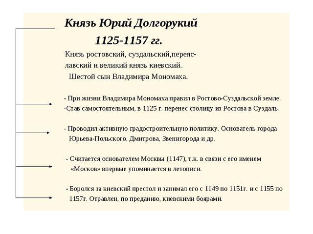Князь Юрий Долгорукий 1125-1157 гг. Князь ростовский, суздальский,переяс-...
