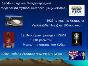 1904г- создание Международной федерации футбольных ассоциаций(ФИФА). 1923г-о