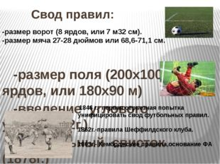 Свод правил: -размер поля (200x100 ярдов, или 180x90 м) -введение углового у
