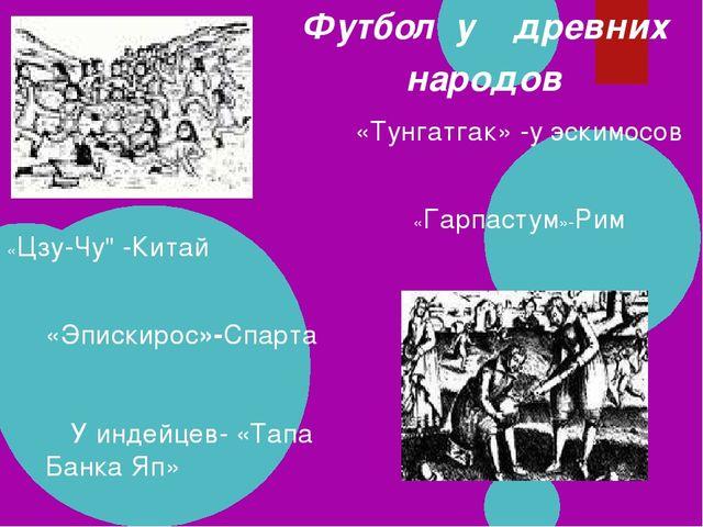 Футбол у древних народов «Эпискирос»-Спарта «Гарпастум»-Рим У индейцев- «Тап...