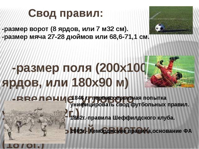 Свод правил: -размер поля (200x100 ярдов, или 180x90 м) -введение углового у...