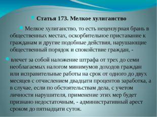 Статья 173. Мелкое хулиганство Мелкое хулиганство, то есть нецензурная брань