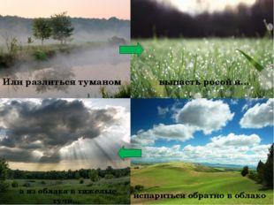 Или разлиться туманом выпасть росой и… испариться обратно в облако а из обла