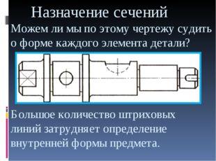 Назначение сечений Можем ли мы по этому чертежу судить о форме каждого элеме