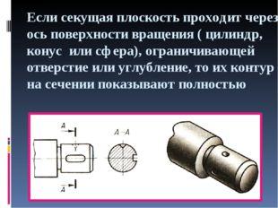 Если секущая плоскость проходит через ось поверхности вращения ( цилиндр, кон