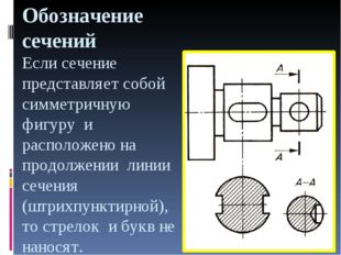 Обозначение сечений Если сечение представляет собой симметричную фигуру и рас