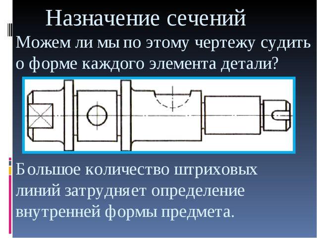 Назначение сечений Можем ли мы по этому чертежу судить о форме каждого элеме...
