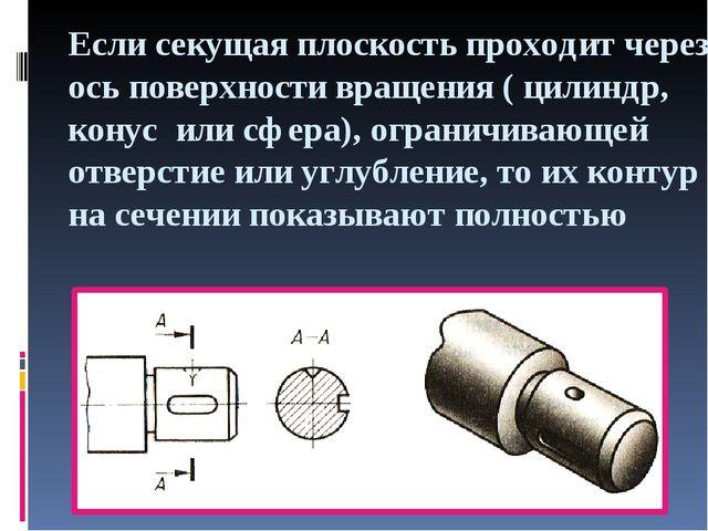 Если секущая плоскость проходит через ось поверхности вращения ( цилиндр, кон...