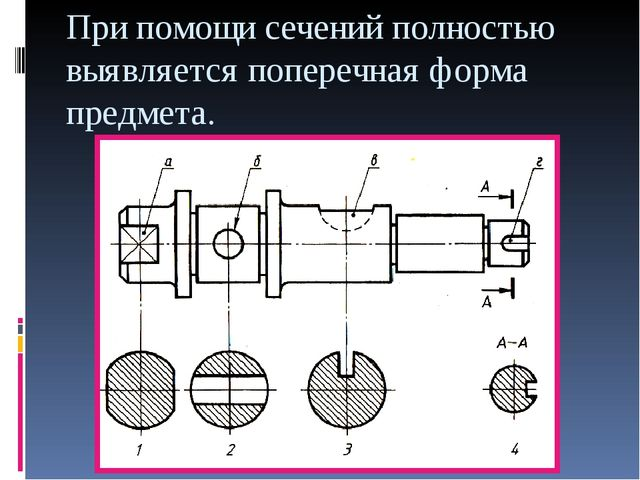 При помощи сечений полностью выявляется поперечная форма предмета.