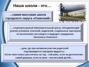Наша школа - это… …самая массовая школа городского округа «Охинский» …социоку