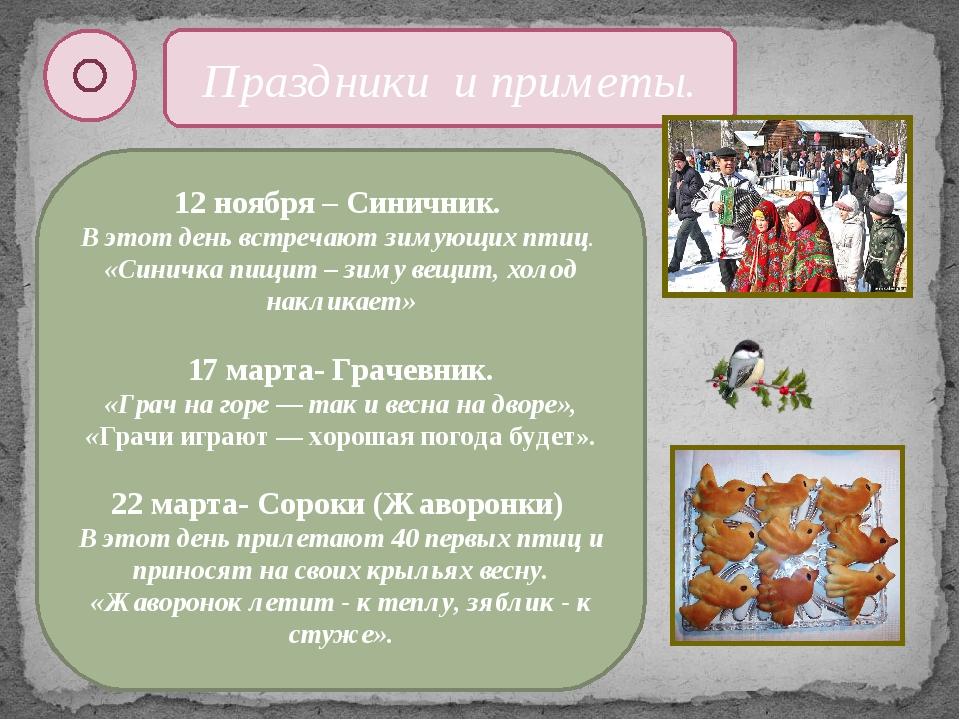 Праздники и приметы. 12 ноября – Синичник. В этот день встречают зимующих пти...