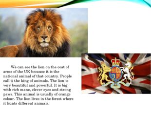 We can see the lion on the coat of arms of the UK because it is the national