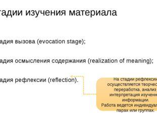 Стадии изучения материала стадия вызова (evocation stage); стадия осмысления