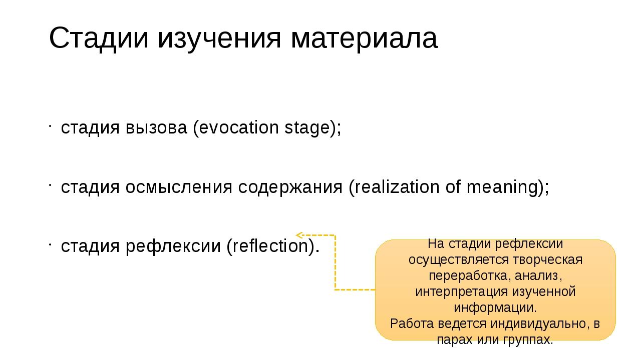 Стадии изучения материала стадия вызова (evocation stage); стадия осмысления...