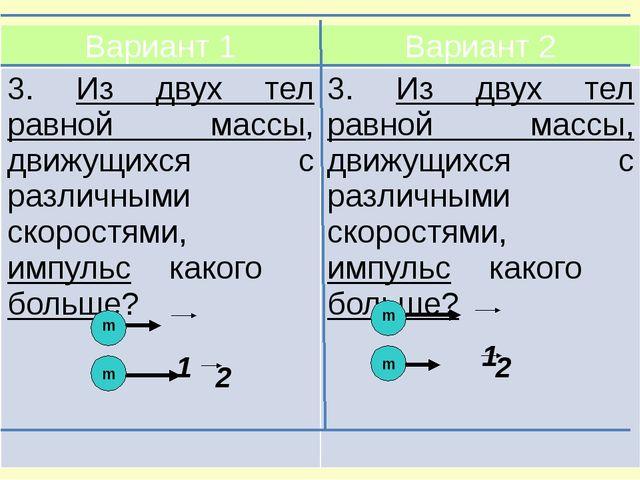 Вариант 1 Вариант 2 3.Из двух тел равной массы, движущихсяс различными скоро...