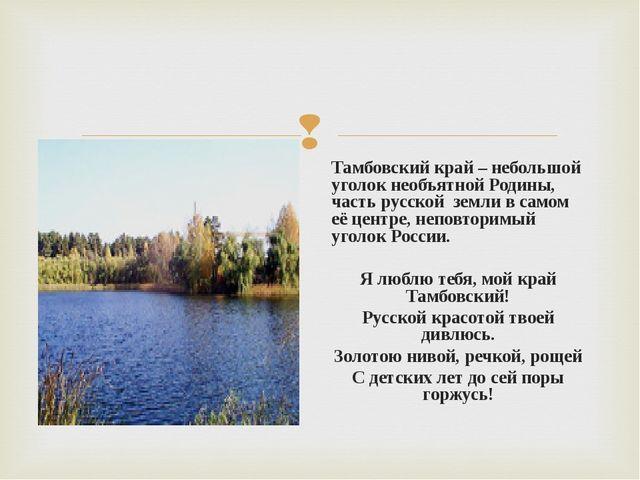 Тамбовский край – небольшой уголок необъятной Родины, часть русской земли в с...