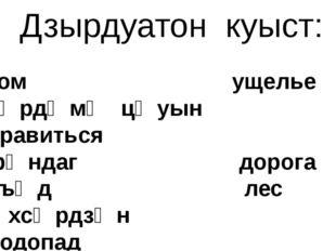 Дзырдуатон куыст: ком ущелье зӕрдӕмӕ цӕуын нравиться фӕндаг дорога хъӕд лес ӕ
