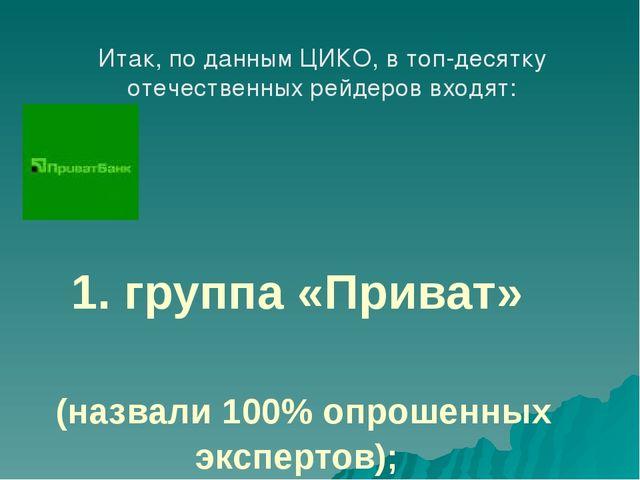 1. группа «Приват» (назвали 100% опрошенных экспертов); Итак, по данным ЦИКО...