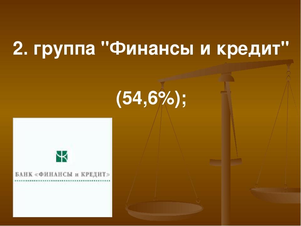 """2. группа """"Финансы и кредит"""" (54,6%);"""
