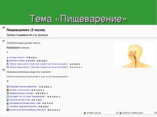Тема «Пищеварение» В программе А.И. Никишова на нее отводится 5 часов. В инфо