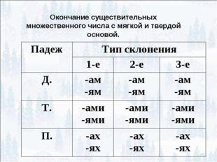 * Окончание существительных множественного числа с мягкой и твердой основой.