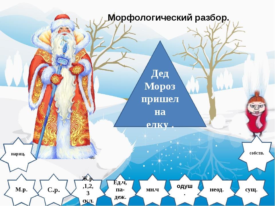 Дед Мороз пришел на елку . С.р. одуш. М.р. Ед.ч, па- деж. Ж.р.,1,2,3 скл. нео...
